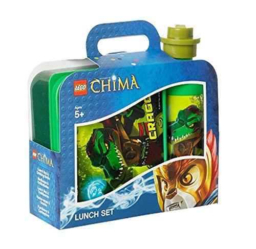 LEGO Lizenzkollektion 40591719 - Chima Frühstücksset mit Brotdose und Trinkflasche, Motiv: Cragger, grün