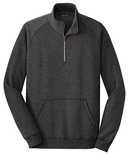 Joe's USA Lightweight Fleece 1/4 Zip Sweatshirt-2XL-HeatheredBlack