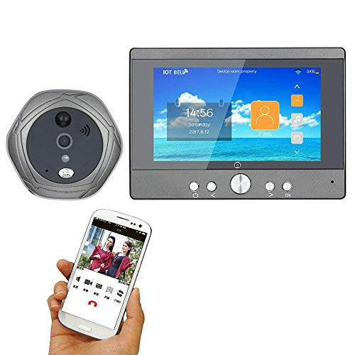 TQ Cámara inalámbrica de 5 Pulgadas Wi-Fi con Mirilla Digital y Puerta Frontal con Mirilla con walkie-Talkie o Foto