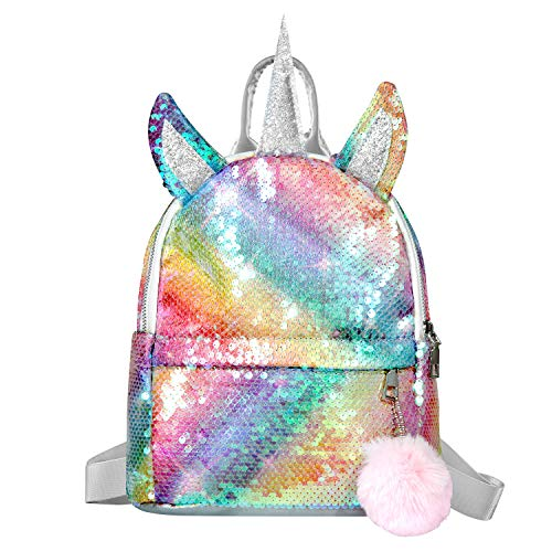 Girls Sequin Backpack,WolinTek Unicorn Backpack Girl Sequins Schoolbag for Girls,Fashion...