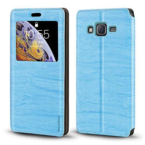 Funda para Samsung Galaxy J7 2016 con tarjetero y ventana, tapa magnética para Samsung Galaxy J7 2016 (azul cielo)