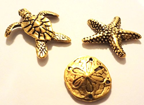 Sea Life Metal Push Pins, 3 Styles - Turtle, Starfish, Sand Dollar, Gold Finish, Solid Metal, 15 Pieces
