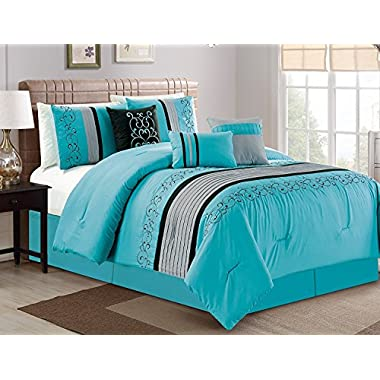 Luxlen 7 Piece Luxury Embroidered Bed in Bag Comforter Set, Oversized, Turquoise, Cal King