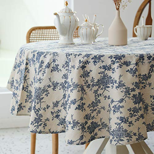 Pastoral Round Tablecloth - 60 Inch Dia. - Linen Fabric Table Cloth - Washable Table Cover with Dust-Proof Wrinkle Resistant for Restaurant, Picnic, Indoor and Outdoor Dining, Floral (Dark Blue)