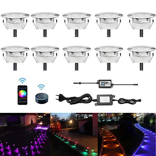 10er Set LED Treppen Bodeneinbaustrahler IP67 Wasserdicht Aussen, RGB WiFi Terrassen Einbaustrahler Kompatibel mit Amazon Alexa, Google Home, Ø60mm LED Bodeneinbauleuchten Steuerbar via App