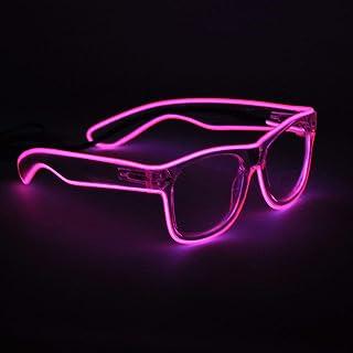 Sydnus EL Wire Rave Sunglasses LED Light Up Party Glasses(Pink)