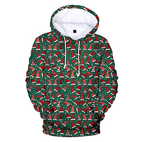 BGUK Sudadera con capucha para hombre, diseño de Navidad, divertida, unisex, manga larga, con impresión 3D, par de sudaderas cálidas, rojo, XXL