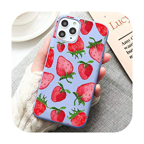 Color rosa fresa fruta alimentos teléfono caso caramelo para iPhone 6 7 8 11 12 s mini pro X XS XR MAX Plus-a8-iPhone11