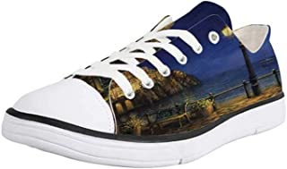 Canvas Sneaker Low Top Shoes,Italy,Starry and Romantic Evening at The Coast of Amalfi in Italy Oil Painting Style
