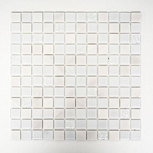 Mosaik Fliese selbstklebend Transluzent Stein weiß Glasmosaik Crystal Stein weiß für WAND KÜCHE FLIESENSPIEGEL THEKENVERKLEIDUNG Mosaikmatte Mosaikplatte