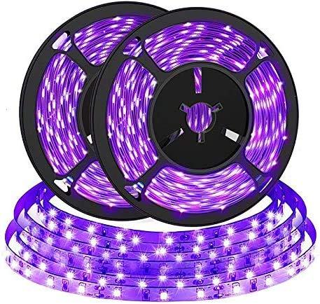 2pcs 2M Tira de LED UV, Bomcosy Tira de LED de luz negra, Tira de LED de luz púrpura, puerto USB 5V, ideal para Halloween, fiesta de Navidad, pintura corporal, pintura de maquillaje de neón