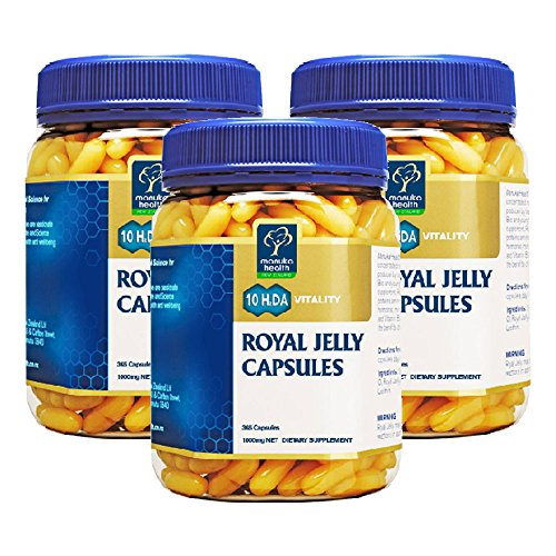 Manuka Health 10hda Royal Jelly 1000mg 365 Capsules 100% Pure New Zealand Royal Jelly Immune System Booster & Supports Skin Health & Vitality (Pack of 3)