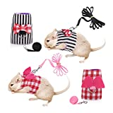 Dasior 2 Pack Small Pet Cute Harness, Adjustable Vest and Leash Set for Guinea Pig Hamster Pink, Black