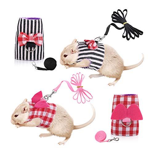 Dasior 2 Stück kleine Haustiere süßes Geschirr Verstellbare Weste und Leine Set für Meerschweinchen, Hamster, Rosa, Schwarz