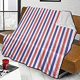 Plüschdecke Decke Rot Blau Linien Dicker Fleece Teppich Wohnzimmer Bett s...
