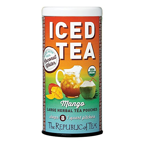 The Republic of Tea Organic Mango Coconut Water Iced Tea Pouches, 8 Quarts / 8 Large Iced Tea Pouches