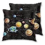 CONICIXI Sonnensystem Planeten Sterne Milchstraße Galaxie Weltraum Astronomische Schwarze Kinder Mikrofaser Kissenbezug, 3D-Muster Mehrfarbig optional, Zwei Packungen, ohne Kissen