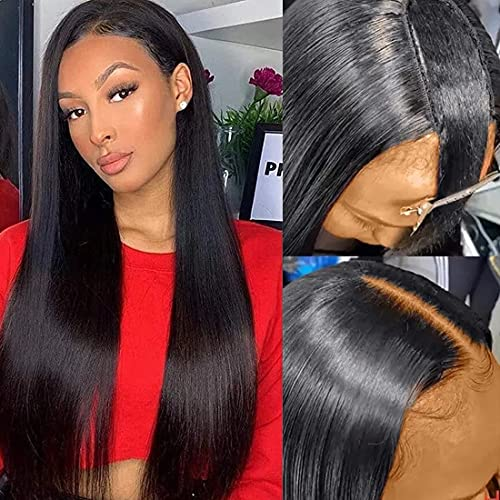Beauty Forever Long Straight Hair U Part Wig Glueless Full Head Clip in Human Hair Wigs 1x4 Opening Size 150% Density 100% Virgin Human Hair Wig Middle Part Natural Color 18 Inch