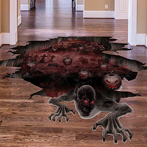 Leoie 3D Scary Pumpkin Skull Floor Decal Wall Sticker for Halloween Living Room Bar Pub Decor