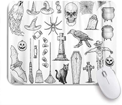 Dekoratives Gaming-Mauspad,Radierung Halloween-Sammlung Zeichnung Gravur Tinte Linie Grabstein Ghost Grave,Bürocomputer-Mausmatte mit rutschfester Gummibasis