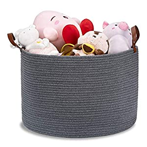 Blanket Basket Woven Baskets for Storage XXLarge Cotton Rope Basket with Leather Handles,20″x13″ Toy Storage Basket Woven Laundry Basket Nursery Hamper – Dark Grey