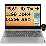 2021 Flagship Lenovo Ideapad 3 15 Laptop Computer 15.6' HD Touchscreen 10th Gen Intel Quad-Core i5-1035G1 (Beats i7-8550U) 12GB DDR4 512GB SSD Dolby HDMI Webcam WiFi Win 10 + iCarp Wireless Mouse