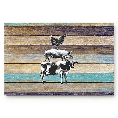 ALAGO HOME Doormats Entrace Door Rug, Retro Rustic Farm with Western Wooden Cow Pig Chicken,Indoor/Bathroom/Kitchen/Bedroom/Entryway Floor Mat Decorative, Non-Slip Low Profile,20x31.5 inch