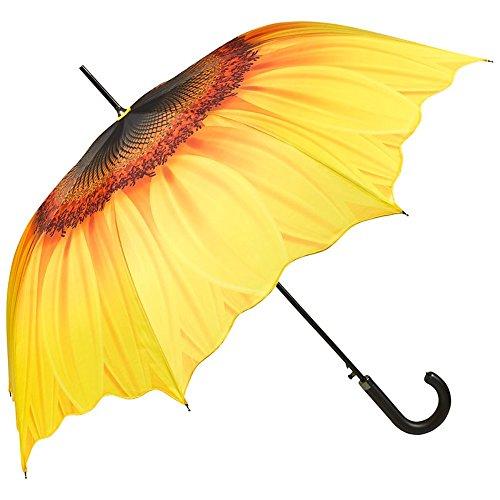 VON LILIENFELD Regenschirm Sonnenblume Auf-Automatik Windfest Leicht Stockschirm Stabil Flower