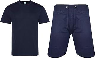 Mens Plain Pyjama Set Short Sleeve Crew Neck Cotton Blend Lounge Shorts Set