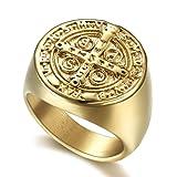 Sping Jewelry Anillo de exorcismo de San Benito con medallas de San Benito, oro CSPB, cruz católica romana, protección de demonios plateado