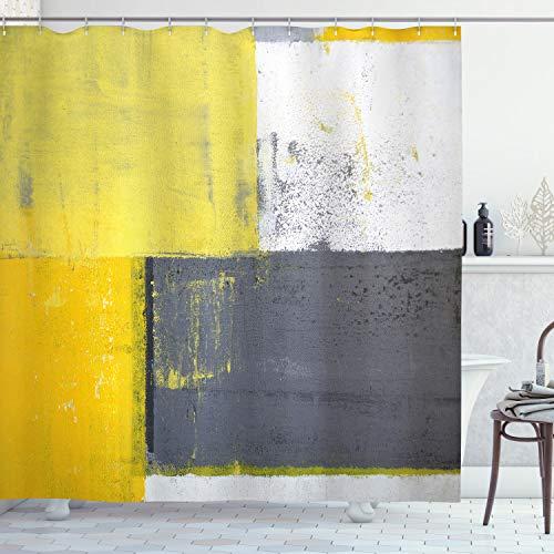 ABAKUHAUS Abstrakt Duschvorhang, Hellgelbe Quadrate, mit 12 Ringe Set Wasserdicht Stielvoll Modern Farbfest & Schimmel Resistent, 175x220 cm, Anthrazit grau Hellgelb Weiß