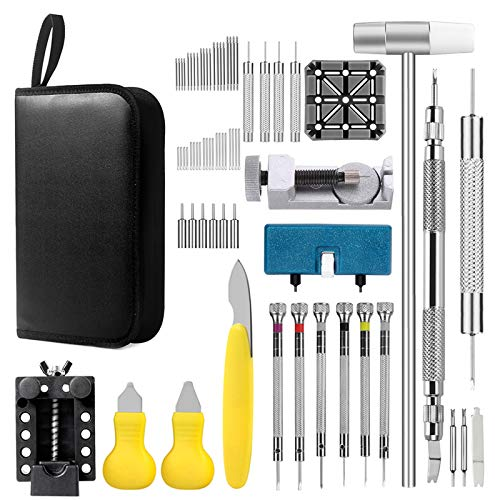 Watch Repair Kit, Professional Watch Band Link Removal Tool, Watch Battery Replacement Tools, Spring Bar Tool Set with Carrying Case