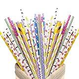 HAKACC 200 pajitas de papel ecológicas de colores, desechables, respetuosas con el medio ambiente,...