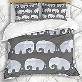 Conjuntos de fundas nórdicas Dibujo de arte Patrón de elefantes grises lindos Personaje de bebé Clip alegre Diseño cómico Ropa de cama de microfibra Tamaño doble con 2 fundas de almohada Cuidado fácil