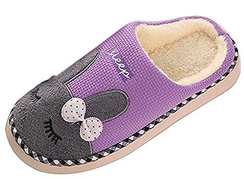 Minetom Mujer Hombres Otoño Invierno Zapatillas De Estar Por Casa Suave Slippers Dibujos Animados Conejo Pareja Zapatos Morado EU 39