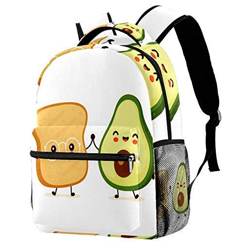 Schulrucksack für Jungen Brot Avocado Schulrucksack Druck Rucksack Jugendlichen Schultasche Outdoor Daypack 29.4x20x40cm