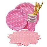 134 Piezas Decoraciones Cumpleaños Desechable Vajilla, Party Kit Mantel Cubierta Feliz Cumpleaños Banner Bolsa Globos para Niños Cumpleaños Niñas (Rosa)