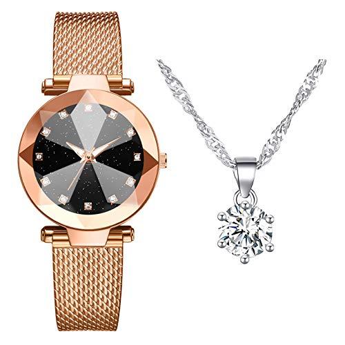 Damen Armbanduhr mit Halskette Zweiteiliger Anzug Quartz Uhr Damen Uhren Geschäftsquarzuhr Halskette Damenaccessoires (Gold)