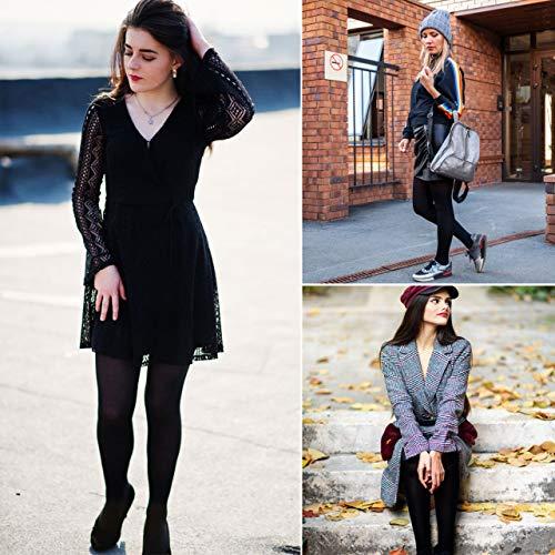 XDDIAS Térmicas Leggins Mujer, 2 Pares Cálidas de Invierno Pantalones, Alta Elasticidad Mujeres Grueso Polainas-Negro +Azul Marino