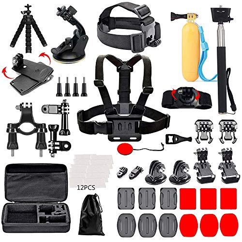 Black Pro Camera Accessory Kit Compatible with GoPro Hero 8/AKASO