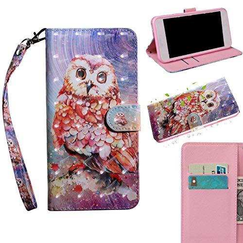 THRION Huawei P20 Lite Hülle, PU 3D Brieftaschenetui mit magnetischer Handschlaufe und Ständerhalterung für Huawei P20 Lite, Eule