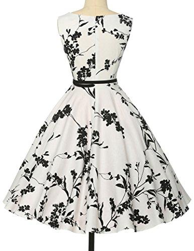 Schoene Blumenmuster festliches Kleid sommerkleid knielang rockabilly kleid L - 2