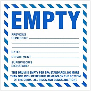 EMPTY Drum - Industrial Labels, 6 x 6 inches, Paper, Pack of 100