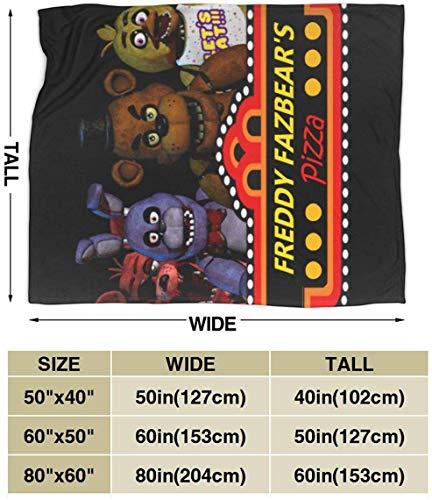 Felsiago Freddy Fazbear's Pizza Patrón de Bricolaje Franela Ultra Suave Fleece Velvet Manta de Felpa Manta de Invierno para Dormitorio/sofá Acogedor para Adultos/niños con patrón de Bricolaje único