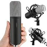 Ouuager-Home Micrófono Micrófono Profesional Micrófono cardioide con conexión Choque Titular de Montaje XLR-3.5mm Cable Micrófono Profesional (Color : Black, Size : One Size)
