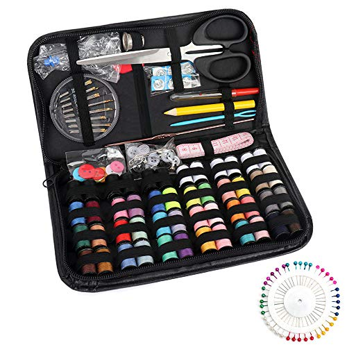 Sewing Kits for Adults - 172PCS Sewing Accessories with Multi Sewing Needles and Thread. Portable Mini Sewing Kit for Beginner, Traveler, Emergency Clothing Fixes and DIY Sewing Projects Crafts
