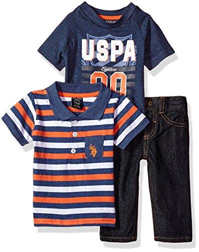 U.S. Polo Assn. Baby Boys, T-Shirt and Pant Set, Indigo Blue Heather, 3/6 Months
