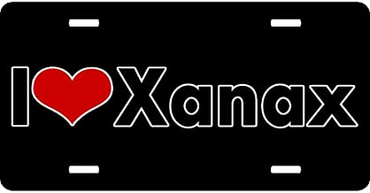 XYcustomBest Personalized Matt Black License Plate Frame, Funny Humor Chrome Stainless Steel License Tag Frame, Xanax I Love Heart, US Pride Car Tag Cover, 4 Holes and Screws
