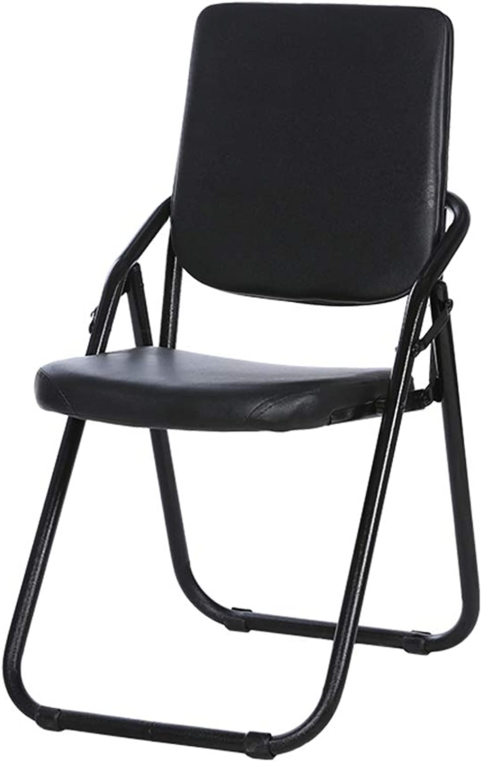 LLYU Black Folding Chair Portable Storage Home Fashion Creative Comfortable Soft Chair, Conference Computer and Dining Chair bar Stool