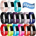 Maledan Replacement Bands Compatible for Fitbit Charge 2, 15-Pack
